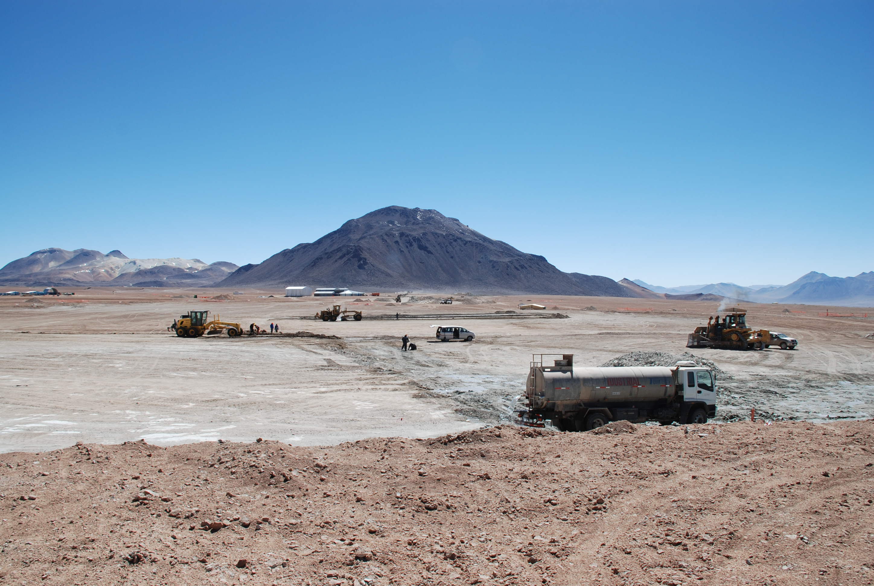 The Chajnantor Site of the ALMA Central Cluster (looking roughly North, with the AOS TB in the background) in August 2008